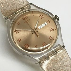 New in Box Gold Glitter Swatch Watch
